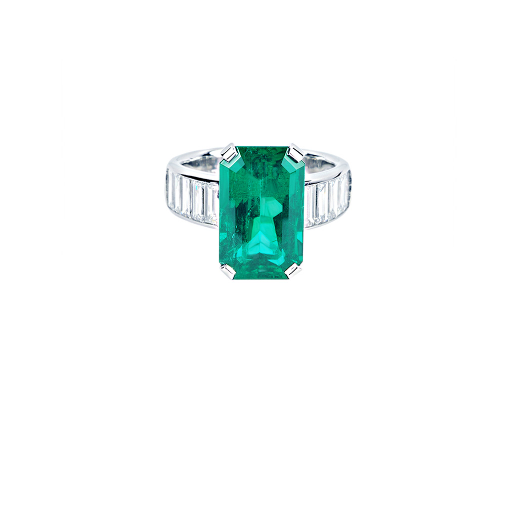 Emerald and Diamond Baguette Ring