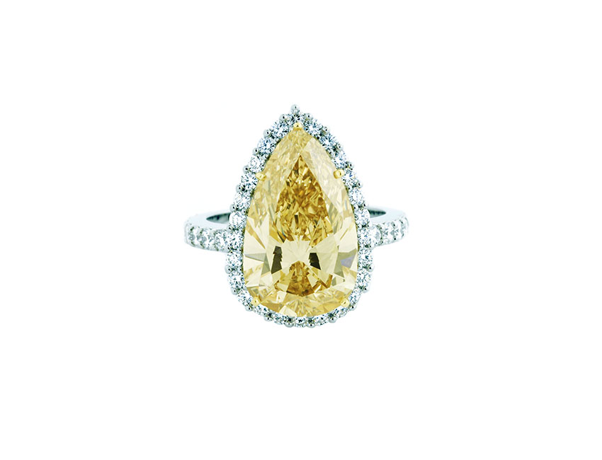 Yellow Pear Shape Engagement Ring