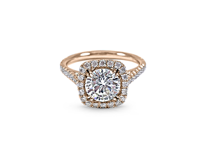 Contemporary Engagement Ring, Round Diamond, Cushion Halo, Tryst Halo