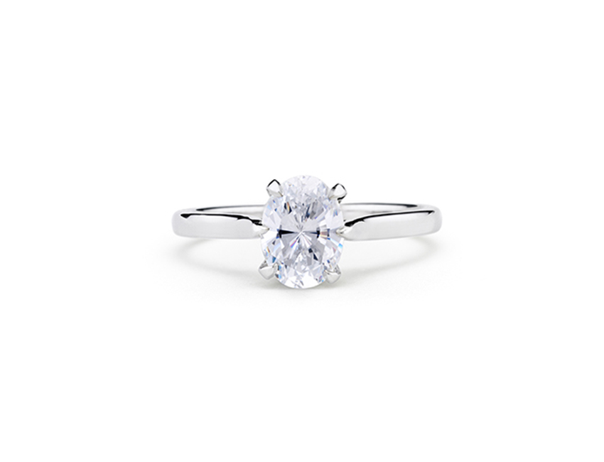 Modern Engagement Ring Salt-Rose Six Prong Solitaire Oval Diamond