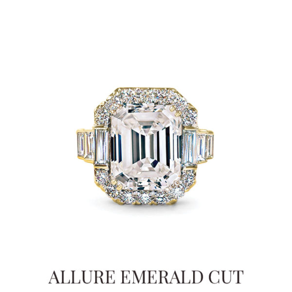 Allure Emerald Cut Engagement Ring, scout mandolin, diamond, engagement, ring, gold