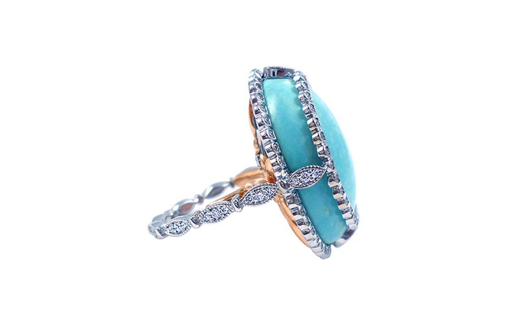 Sleeping beauty turquoise cabochon, turquoise cocktail ring, cocktail ring, scallop halo, diamond band, white gold