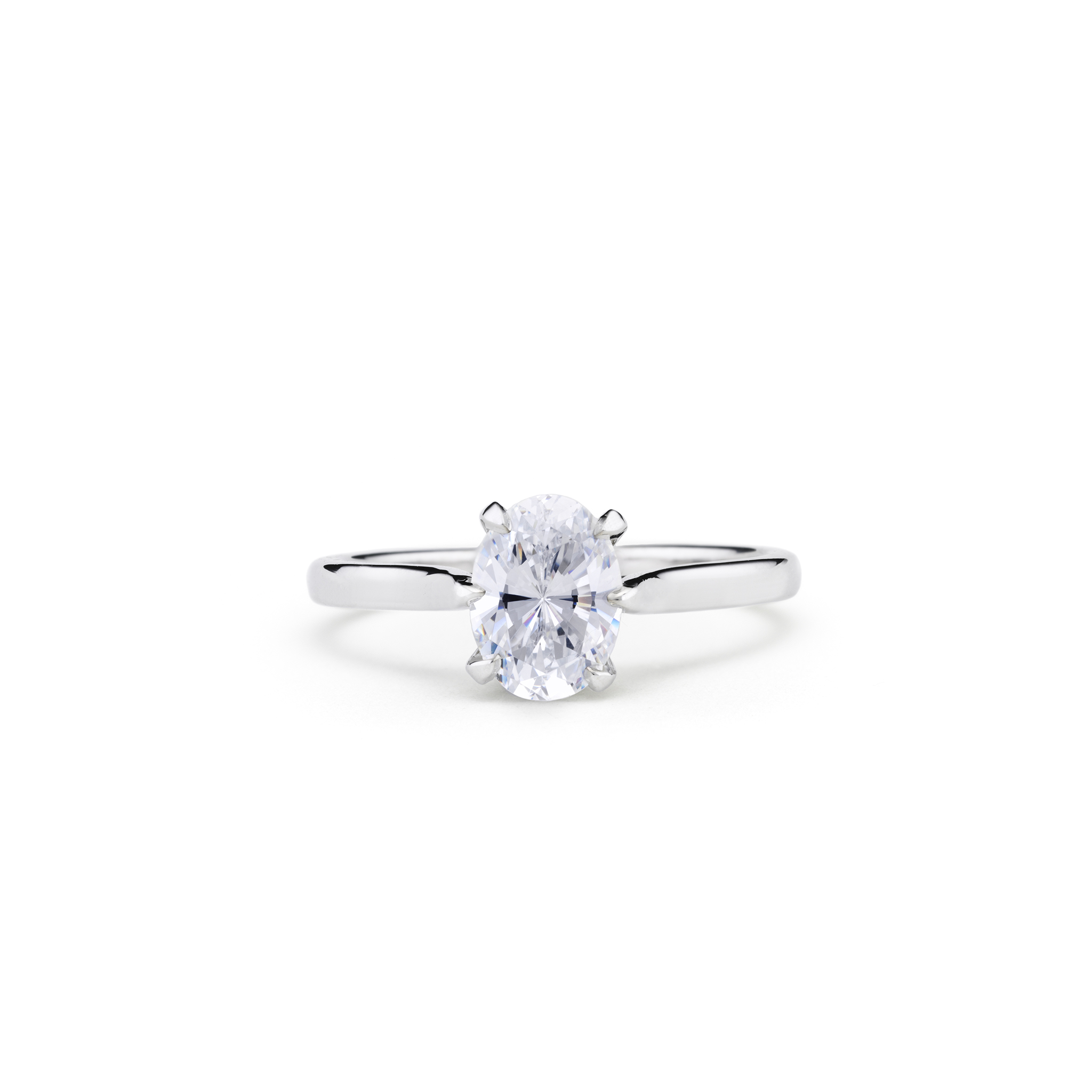 silhouette engagement diamond pave shaped white uneek in with shank three ring stone oval double gold